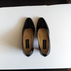 Town Shoes Black Leather Block Heels
